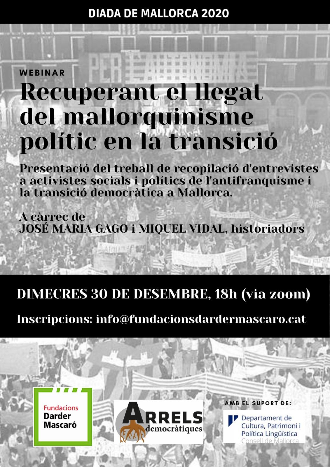 Presentació del projecte de recuperació del mallorquinisme polític a la Transició a través de fonts orals